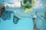 Camper snorkeling